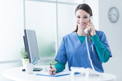 nurse calling on the telephone